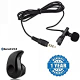 #6: Captcha Lavalier Noise Cancelling Mini 3.5mm Jack Microphone With S530 Stylish Mini Wireless Bluetooth In-Ear V4.0 Handfree Compatible With Xiaomi, Lenovo, Apple, Samsung, Sony, Oppo, Gionee, Vivo Smartphones (One Year Warranty)