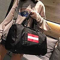 Hombro de Nylon Bolsa de Viaje Ocio Deporte Bolso con Zapatos de zócalo (Color Rosa),ChenYanDong (Color : Black)