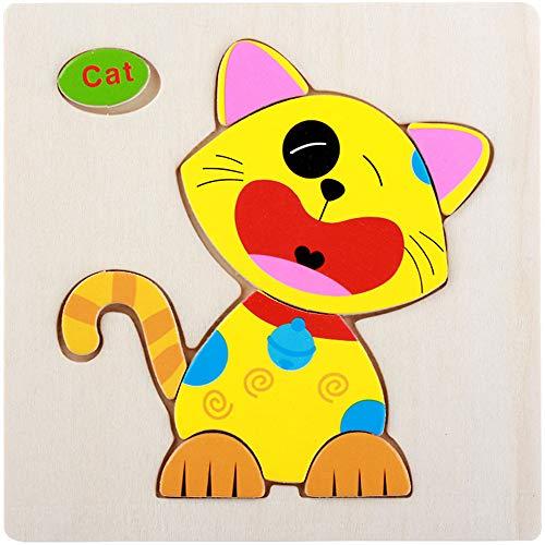Wooden Animal Puzzles for Toddlers 1 2 3 4 Jahre Alt, Farbe Form Kognitiven Fähigkeiten Lernen Früherziehung Spielzeug Geschenke, Helle Und Helle Farbe Formen,G (Besten Alt Jahr 1 Bildungs-spielzeug)