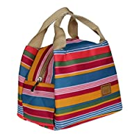 Koly Stripe Thermal Insulated Lunch Box Tote Cooler Zipper Bag Bento Lunch Pouch (Colorful)