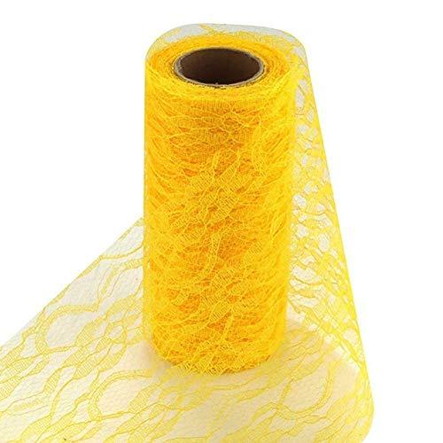 Ogquaton Tüll Rollenspule Floral Lace Roll Netting Stoff Tischläufer Stuhl Schärpe Bogen für Tutu Rock DIY Hochzeit Brautdusche -