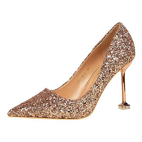 FLYRCX In stile europeo in autunno e inverno bocca poco profonda sottile tacco alto scarpe tacco personalità del mondo della moda di scarpe di partito E