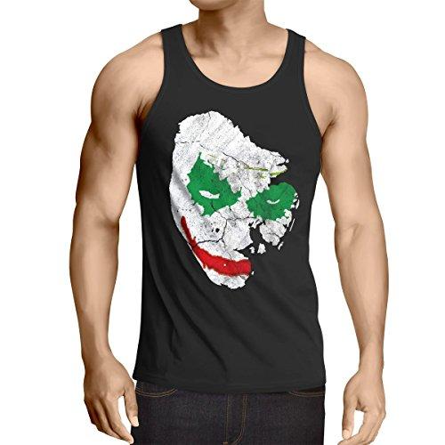 CottonCloud Jokerface Tank Top Uomo canotta canottiera gotham, Dimensione:L;Colore:Nero