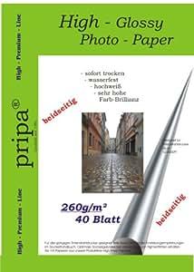 Pripa Lot de 40 feuilles de papier photo brillant des deux côtés à séchage immédiat imperméable DIN A4 pour imprimantes jet d'encre Blanc 260 g/m²