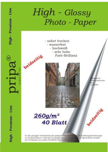 BEIDSEITIG pripa 40 Blatt Fotopapier Photopapier DIN A4 260g/qm - beidseitig glossy (glaenzend) - sofort trocken - wasserfest - hochweiß - sehr hohe Farbbrillianz fuer InkJet Drucker (Tintenstrahldrucker).