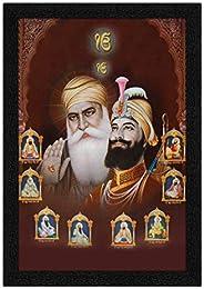 ARTAMORI Guru Nanak with Guru Gobind Singh Painting with Synthetic Frame