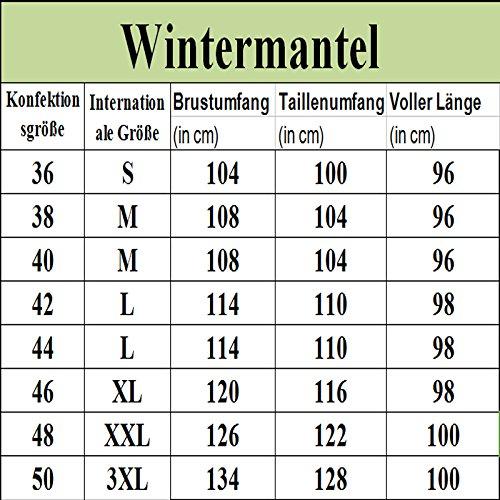 Aofur Damen Mantel Lang Wintermantel Jacke mit Kapuze Warmes Fauxpelz Parka Militärjacke Große Größen S-XXXL Grün