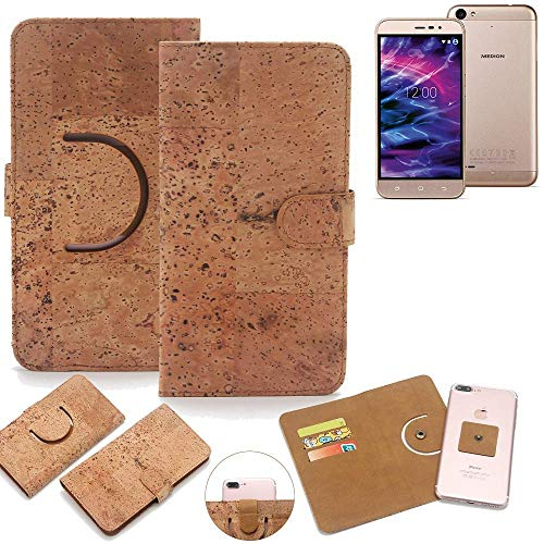 K-S-Trade Schutz Hülle für Medion Life E5006 Handyhülle Kork Handy Tasche Korkhülle Handytasche Wallet Case Walletcase Schutzhülle Flip Cover Smartphone