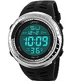 SunJas 50 Meter wasserdicht Armbanduhr Sportuhr Stoppuhr Digital LED Wecker