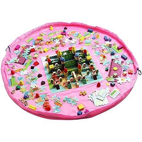 OurKosmos® Children Play Mat giocattolo del sacchetto di immagazzinaggio dei bambini Tappeto giocattolo del bambino Organizzatore, Multi Purpose portatile attività coperta all'aperto Tappetino - 59 pollici