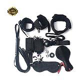 Marilia Einstellbare Augenmaske für gesunde Schlafmaske mit Nylon-Handschellen-Kit, Schwarz