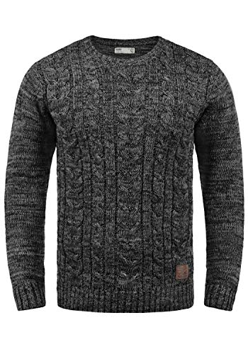 !Solid Philemon Herren Winter Pullover Strickpullover Grobstrick Pullover Zopfstrick mit Rundhalsausschnitt, Größe:L, Farbe:Black (9000)