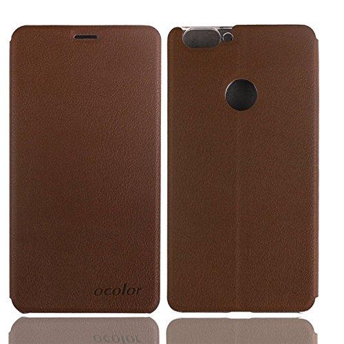 Guran® PU Leder Tasche Etui für BLUBOO Dual Smartphone Flip Cover Stand Hülle Case-braun