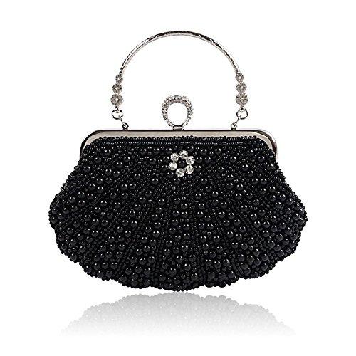Sacchetto del pranzo perle di perle che detengono un pacchetto obliquo del vestito dalla spalla Black