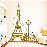 """Wandtattoo-Loft Eiffelturm Paris mit verliebtes Paar"""" ZWEIFARBIG - Wandtattoo/49 Farben/4 Größen/silbergrau/115 x 155 cm"""