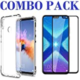 ADRY 5D Tempered Glass & Bumper Transparent Back Cover_Combo Pack_ Premium Quality Screen Guard And Soft Case Cover For Huawei Honor 8X