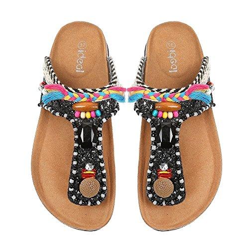 Ideal-Shoes Nu-piedi decorato con paillette e gioielli, strass e fantasie Tammy Nero