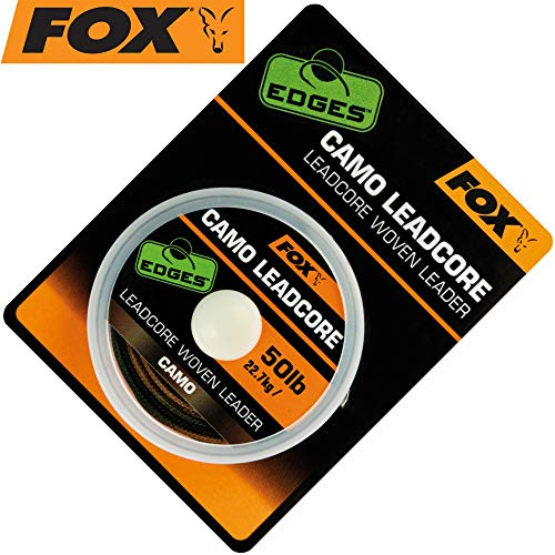 Fox Leadcore Camo 25m 50lbs - Vorfachschnur zum Angeln auf Karpfen, Vorfachmaterial zum Karpfenangeln, Karpfenschnur für Vorfächer -