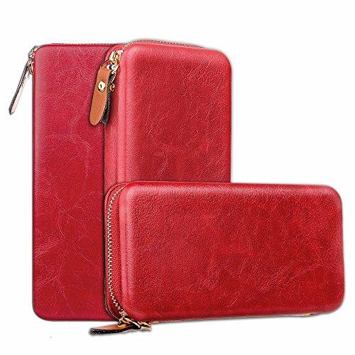 Large Capacity Magnetic Universal Phone Wallet Beutel Case Cover [Shockproof] mit Smooth Metal Zipper für bis zu 4,7 Zoll Smartphones [Gehäusegröße: 15,2 * 7,8 * 2cm] für iPhone 7 & 8 Samaung Galaxy S Red