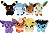 Set von 8 Pokemon Plüsch - Umbreon Eevee Espeon Jolteon Vaporeon Flareon Glaceon Leafeon - 15 cm jede einzelne