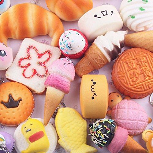 Ularma 10 Stück Squishy Schlüsselanhänger Schöne Keychain Handtaschenanhänger Tasche Dekor Slow Rising Spielzeug Brot Creme Macarons usw.