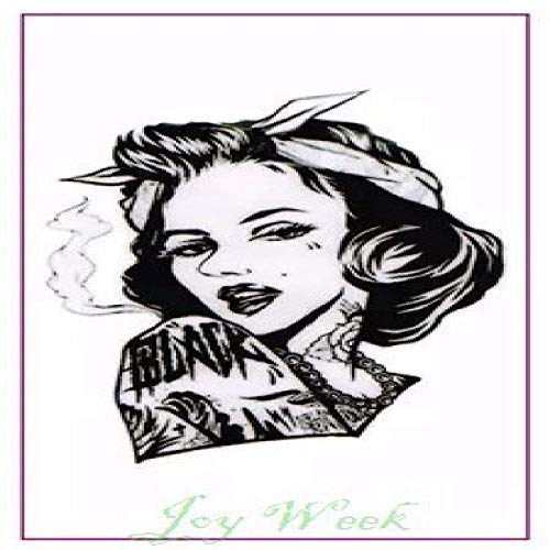 ljmljm 6 Piezas Etiqueta engomada del Tatuaje a Prueba de Agua Amy Winehouse Tatto Girl Tatoo Hombro muñeca Vientre pie para Dama Hombres Mujeres ba Vino Rojo 9x7 cm