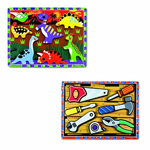 Melissa & Doug Wooden Chunky Puzzles Set - Tools and Dinosaurs