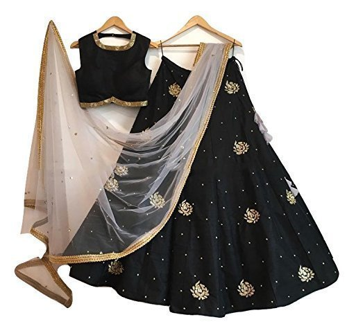 Dhruv Fab Women's Banglori Silk Embroidery Gown (Black Color_Free Size)