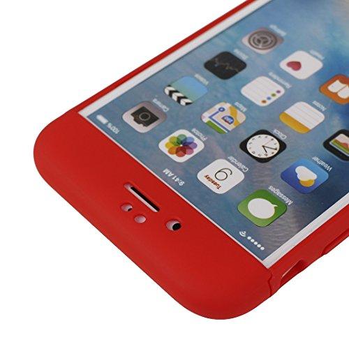 iPhone 6S Plus Hülle Outdoor, iPhone 6 Plus Case, Rosa Schleife Slim Stoßfestes Schutzhülle Hybrid Cover 3 in 1 Armor Handyhülle Plastik Hart Cases Bumper Robuste Hülle für iPhone 6S Plus / 6 Plus Sch Rot