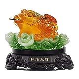 Feng Shui Natürliches Harz ALS Jade Geldfrosch (Dreifeinkröte/Reichtum Frog) sitzen auf Lotus-Statue Zuhause Büro Dekoration