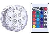 Unterwasser Licht mit Fernbedienung, Alilimall RGB Multi Farbwechsel Wasserdichte LED Leuchten Teichbeleuchtung für Vase Base, Floral, Aquarium, Teich, Hochzeit, Halloween, Party, Weihnachten