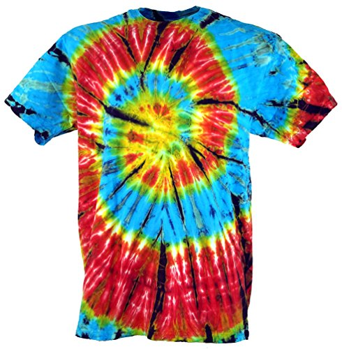 Guru-Shop Batik T Shirt, Herren Kurzarm Tie Dye Shirt, Baumwolle, Rundhals Ausschnitt Alternative Bekleidung hellblau/rot Spirale