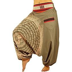 virblatt Pantalones Bombachos para Hombre y Mujeres Entrepierna caída con Mandala Dibujado a Mano como Ropa Hippie Alternative y Pantalones cagados Estilo Harem S- L – Nirvana marrón