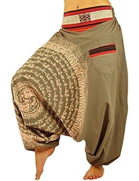 UNISEX pantaloni alla turca con cavallo a goccia con Mandala disegnato a mano come abbigliamento alternativo e...