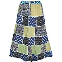Mogul Interior Womens Gypsy Skirt Patchwork Floral Peasant Style