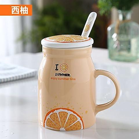 YX.LLA Il Mug tazze di ceramica con il coperchio con il cucchiaio carino passare frutta (Grande Cina Tazza Di Caffè)
