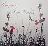 "White Cotton Cards Meadow ""Wishing You A Happy Birthday"" Handmade Birthday Card"