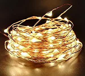 FFNW Starry LED String Copper Wire Lights 33ft 100leds Waterproof Firefly Fairy Lights for Bedroom, Garden, Christmas, Bedroom, Patio, Wedding, Party Deck (Warm White)