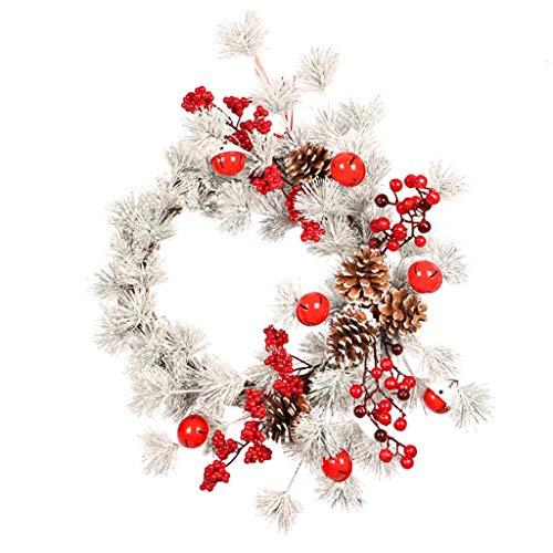 SLIANG Weihnachtsdekoration einkaufen Szene Hotel Dekoration Weihnachten Tor hängen weiße Kiefer Nadel Glocke Ring