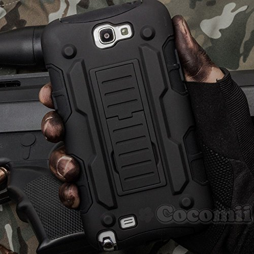 Galaxy Note 2 Coque, Cocomii Robot Armor NEW [Heavy Duty] Premium Belt Clip Holster Kickstand Shockproof Hard Bumper Shell [Military Defender] Full Body Dual Layer Rugged Cover Case Étui Housse Samsung N7100 (Black)
