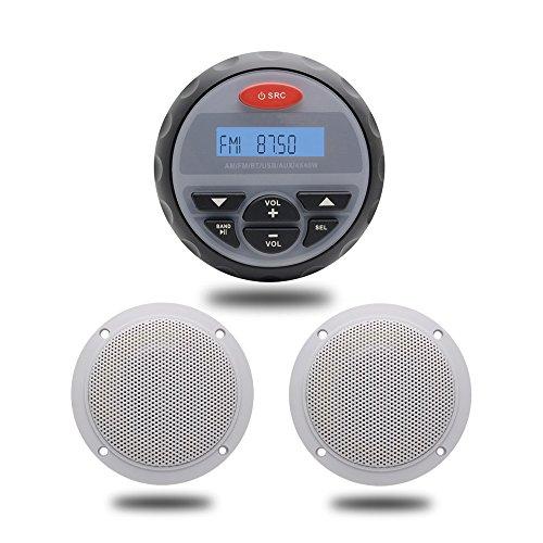 10,2 cm Wasserfest Marine Gauge Radio FM AM Audio Bluetooth Stereo + 10,2 cm 2 Wege, Weiß Marine Boot Wasserdicht Lautsprecher