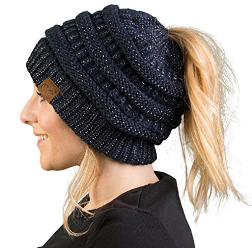 Funky Junque CC BeanieTail Womens Ponytail Messy Bun Beanie Solid Ribbed Hat Cap (Knit Cable Beanie Womens)