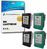 Printing Pleasure 4 XL Tintenpatronen kompatibel zu HP 350XL 351XL für Photosmart C4280 C4380 C4480 C4485 C4580 C5280 D5360 Deskjet D4260 D4360 Officejet J6410 J6415 - Schwarz/Color, hohe Kapazität