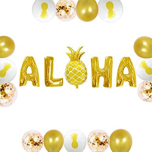 JeVenis 16er-Set Gott Aloha Ballon Ananas Ballon Aloha Banner Tropenballon Luau Ballon Sommerfestdekoration Luau Partyzubehör Tropenballon - Ananas-banner