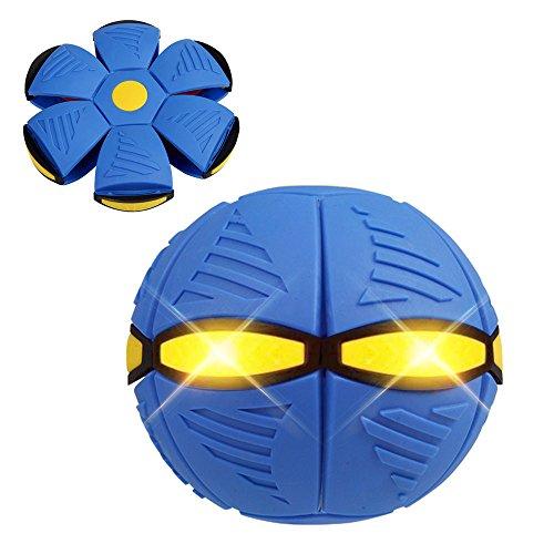 HARRYSTORE 3 LED-Leuchten Zauber Fliegend Fußball UFO Verformung Ball Eben Werfen Ball Fußball Spielzeug Spiel (Blau)