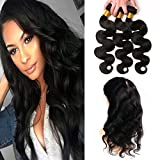 Closure 360 Frontal Mit Haaren Remy Brazilian Hair Body Wave 3 Bundles Extensions Echthaar Raw Remy Virgin Hair Weave Natural Black 20 22 24 +16(360)