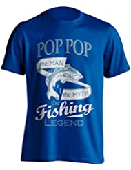 """Pop Pop Pesca Camiseta """"Pop Pop, el Man, The Myth, de la leyenda"""" Pesca De Pesca Camiseta–idea de regalo para Dad en su cumpleaños, Regalo de Navidad o día del padre., azul"""