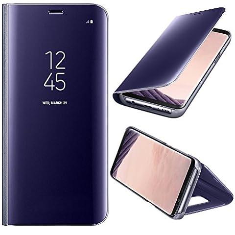 Coque Etui Housse pour Samsung Galaxy s8 plus + film de protection souple Clear View Etui à Rabat Cover Flip Case Miroir Antichoc Téléphone Portable Samsung violet