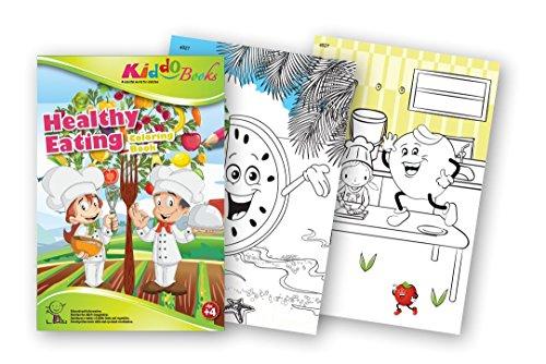 QuackDuck Malbuch Healthy Eating - Gesund essen - Coloring booklet - Malbuch mit farbigen Motiven - Malblock für Kleinkinder ab 4 Jahre (4027)