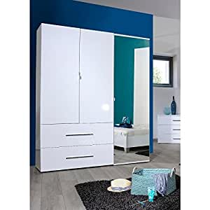 FIRST Armoire de chambre 160x208x54 cm laqué blanc